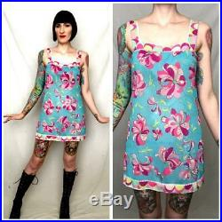 EMILIO PUCCI Vintage 1960's Psychedelic Geometric Floral Nylon Mini Dress Slip S