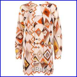 EMILIO PUCCI c. 1960s Formfit Rogers 2pc Tan Geometric Print Tunic Dress Slip Set