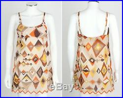 EMILIO PUCCI c. 1960s Formfit Rogers 2pc Tan Geometric Print Tunic Dress Slip Set