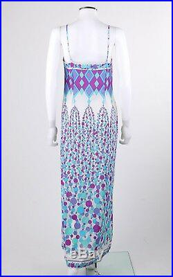 EMILIO PUCCI c. 1970's Blue Multicolor Geometric Signature Print Maxi Slip Dress