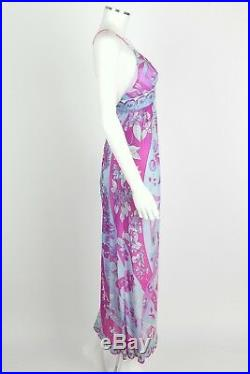 EMILIO PUCCI c. 1970's Formfit Rogers Pale Blue Floral Print Long Slip Maxi Dress