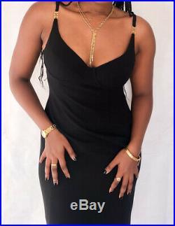ESCADA Margaretha Ley Vintage Black Logo Slip Strap Fitted Dress S M UK10-12