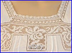 EUC Antique EDWARDIAN Vtg Filet LACE/Bobbin Lace Cotton Slip Nightgown DressXS