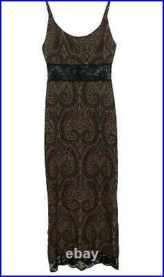 EUC Vintage 90s Y2K Paisley & Lace Maxi Slip Dress ALT ASO Rachel Green 2 XS