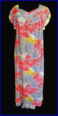 EXCEPTIONAL RARE 1940'S WWII ERA SILKY RAYON HAWAIIAN DRESS BY KUU LANI SZ 8-10