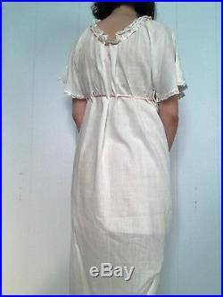 Edwardian 1910s White Cotton Night Gown Slip Embroidered XS Small S Vintage