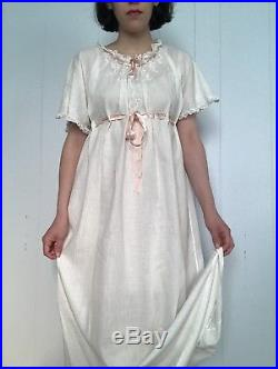 Edwardian 1910s White Cotton Nightie Night Gown Slip Embroidered XS Small S