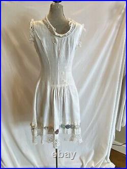 Edwardian Antique Corset Cover Lace Slip Gown Cotton Dress