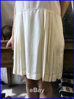 Edwardian Slip Antique Silk Dress 1920s Pleated Silk Slip Lace Antique 1910's