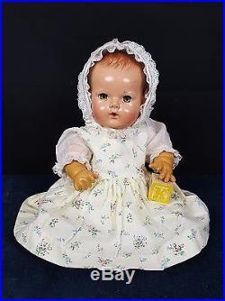 Effanbee 15 Dy-Dee Baby 50's Vintage Doll Vintage Dress Bonnet Slip Undies CUTE