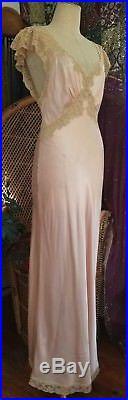Elegant 1930s Bias Satin Lace Negligee Chemise Slip Dress Vintage Antique 30s