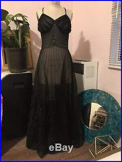Elsa Schiaparelli Paris Black Peignoir Sheer Slip Dress Vintage 50s 60s Sz Small