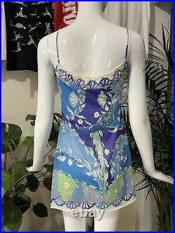 Emilio Pucci 60s Vintage Formfit Rogers Signature Printed Slip Dress Sz 36