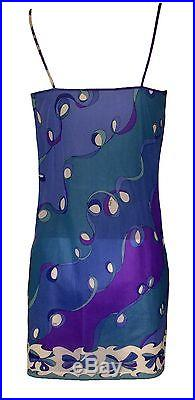 Emilio Pucci for Formfit Rogers VTG 60s Blue Pucci Print Slip Dress Negligee S