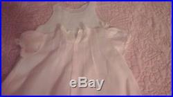 Estate Vintage Feltman Bros 1940's Newborn Dress & Slip Pink Delicate Embroidery