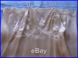 Exquisite French Alencon Lace Trim Silk Slip Lingerie Dress Vtg Hand Done 1930
