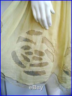 Exquisite Gossamer Silk Chiffon 20's Deco Flapper Dress Net Original Slip 36