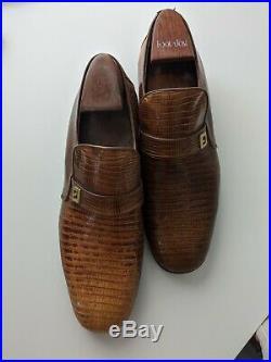 FOOTJOY Vintage Brown Lizard Loafer Strap Mens Slip On Dress Shoes 7D