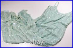 FRANK USHER Vtg 80s Mermaid Peppermint Blue Sequin Maxi Party Occasion Dress 14