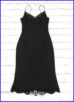 FUTURE VINTAGE Dolce & Gabbana SS02 Black Stretch Lace Trim Slip Dress IT40/UK8
