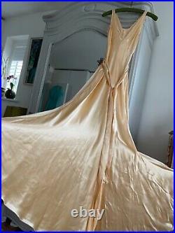 Fab 20s 30s Silky Satin Evening Dress Slip Bias Cut Gown Art Deco VTG TLC AF