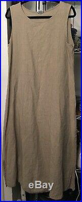 Fabulous Vintage CP SHADES Natural Linen Slip Dress/Tank Dress Large