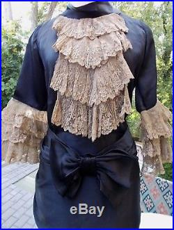 Fabulous black satin. Exquisite lace jabot & cuffs. Copper slip c. 1920-1930