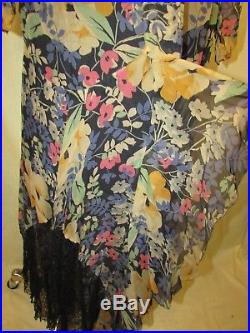 Floral Chiffon Gown With Blue Lace Trim, Silk Slip
