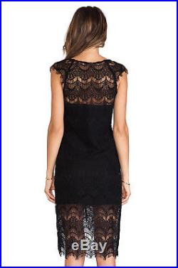 Free People Black Peekaboo Intimately Slip Dress Lace Stevie Nicks Vintage 12 M