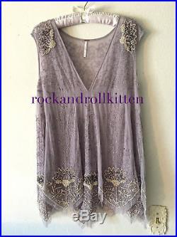 Free People Deep Sleep Beaded Slip Dress Vintage Gatsby Silver Lilac Xs+s $198