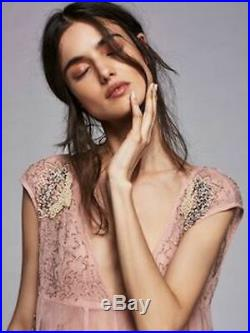 Free People Deep Sleep Slip Dress Pink Beaded Fairy Gatsby Vintage M Nwt $198