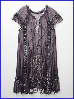 Free People Lady Lazarus Purple Beaded Slip Dress Gatsby Deco Vintage S Nwt $198