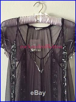 Free People Lady Lazarus Purple Embroidered Slip Dress Gatsby Vintage S Nwt $198