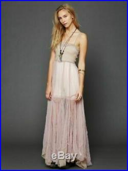 Free People Sheer Tulle Sweeping Maxi Slip Gown Sz M / S 30s Vintage Style