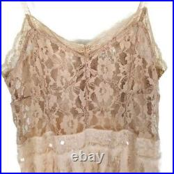 Free People Slip Lace Dress Ombre Vintage Peach Feather Chiffon Size Medium
