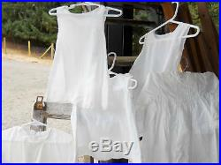 French Country Farmhouse Antique White Cotton Baby Christening Dress Slip Lot