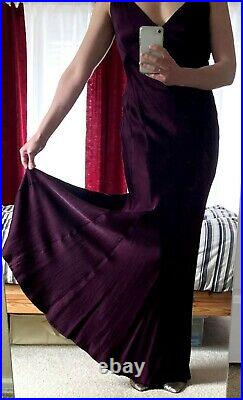 GHOST LONDON Cassidy Vintage Style Satin Evening Gown, Small, Slip Dress