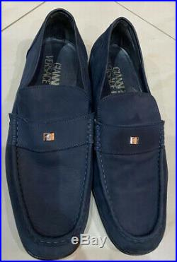 GIANNI VERSACE NAVY Suede Leather Laofers Slip On Shoes 11/45 MINT