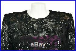 GIVENCHY COUTURE Black Lace Cocktail Dress with Pink Silk Slip SIZE FR40 US 6-8