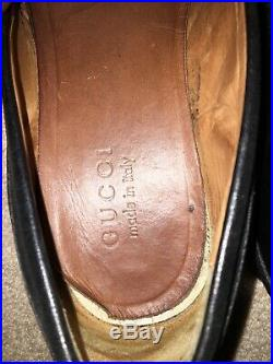 GUCCI Horsebit Black Leather Sz 8m Fit Like 9m Mens Slip On Loafers Shoes