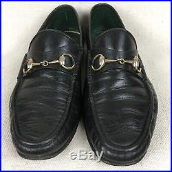 GUCCI Horsebit Mens Size 44.5 D. Loafers Black Leather Slip Shoes Vintage Italy