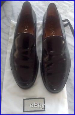 GUCCI Iconic Mens 1970's VINTAGE Black Leather Loafer Slip-On Dress Shoe 10 D