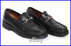 GUCCI Mens VINTAGE Black-Leather Silver-Horsebit Loafers Slip-On Dress Shoes 8.5
