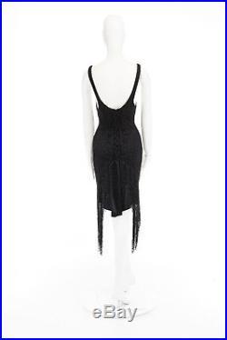 GUCCI TOM FORD Vintage SS00 black beaded fringe hem slip dress IT40 US4 UK8 S