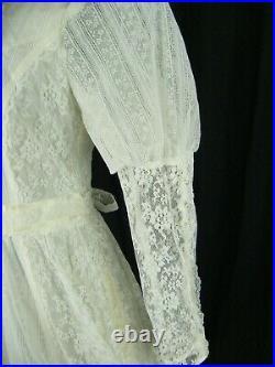 GUNNE SAX ROMANTIC RENAISSANCE BRIDAL Vtg 70s Dress sz 13/Bra/Slip-Bust 37/S