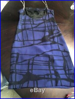Galanos Rare Vintage 60s Blue & Black Silk Abstract Print Mini Slip Dress S/M