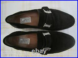 Gianni Versace Black Buckle Suede Leather Laofers Slip On Shoes 6 1/2