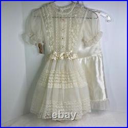 Girl Ivory Sheer Overlay Lace EASTER Dress Slip Frilly Communion Wedding Vintage