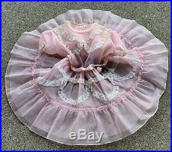 Girls Vintage 1950s Pink Sheer Lace Party Dress Princess Twirl Kawaii With Slip