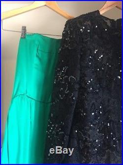 Givenchy Dress Gown Black Sequin Gem Green Silk Slip Rare Vintage 8